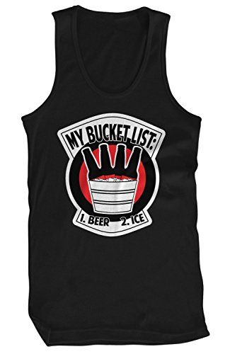 Amdesco Men's Bucket List: 1 Beer 2 Ice Tank Top, Black 3XL -