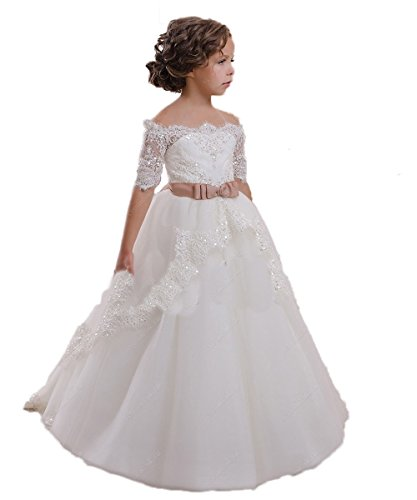 CoCoBridal Lace Flower Girls Dresses Girls First Communion Dress Princess Wedding (4T, Ivory) (Ivory First Communion Dress)