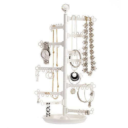 All Hung Up 12-Tier Extra Capacity Jewelry Organizer Stand Tower Tree with Dish/Tray - Display Everything - Save Space - Tall Storage Holder - Necklaces, Earrings (110 Pairs), Rings, Bracelets ()