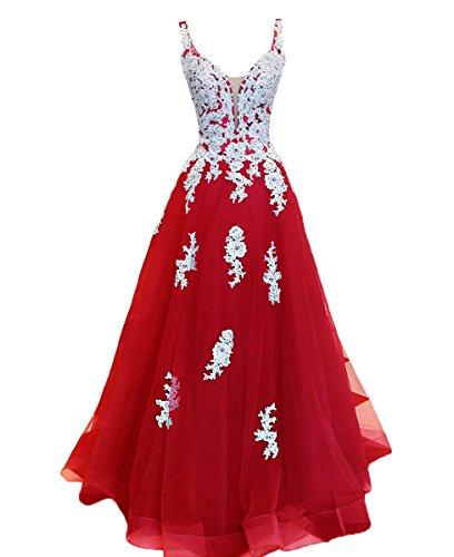 2018 Lang Elegante Lovelybride Rot Abendkleid Spitze Ballkleider Applique ärmellose TawxqXR