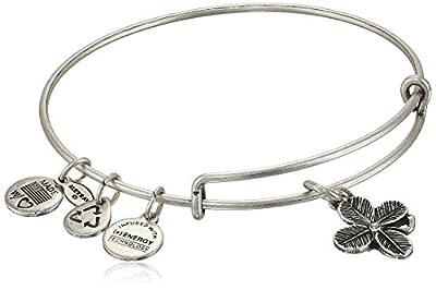 "Alex And Ani ""Bangle Bar"" Lucky Clover Expandable Wire Bangle Bracelet, 7.75"""