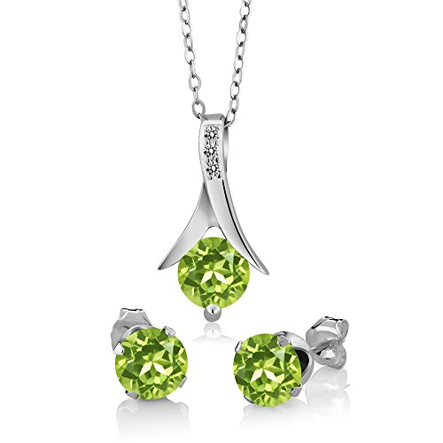 Gem Stone King 2.60 Ct Round Green Peridot White Diamond 925 Sterling Silver Pendant Earrings Set ()