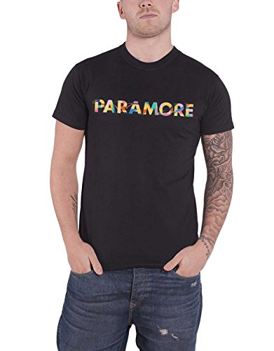 Paramore T Shirt Retro Colour Swatch Band Logo Official Mens Black Size -