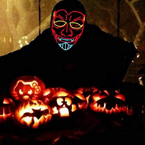 myonly Halloween Mask EL Cold Light Luminous Devil Mask Party LED Horror Mask Festival Funny Mask for Dancing Party Masked Ball Halloween Party