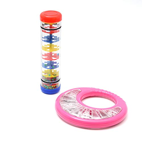 MoozikPro Rainmaker Toy & Tambourine for Kids Musical Instruments Set (Ages 1+) Rhythm & Sensory Toys for Autistic, ASD Children, Preschool & Toddler  Shaker& Rainfall Rain Tube Rattle &Juguetes Kit -