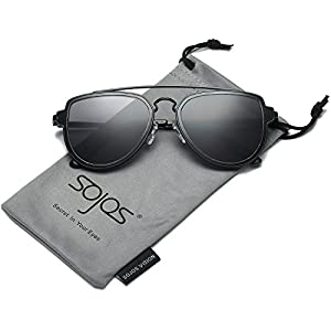 SojoS Fashion Aviator Unisex Sunglasses Flat Mirrored Lens Double Bridge SJ1051 Black Frame/Grey Lens