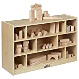 ECR4Kids Birch 9-Cubby School Classroom Block Storage Cabinet with Casters, Natural, 36'' W