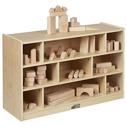 ECR4Kids Birch 9-Cubby School Classroom Block Storage Cabinet with Casters, Natural, 36