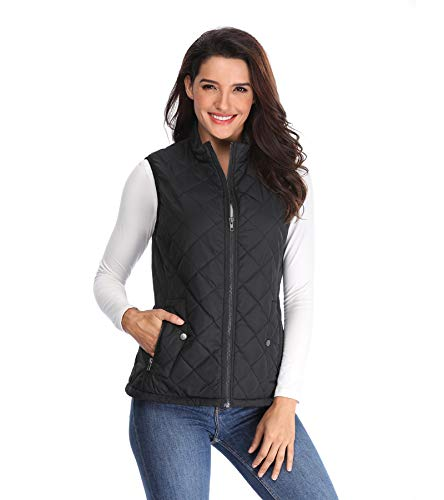 MISS MOLY Women's Lightweight Quilted Zip Vest Stand Collar Gilet Padded Sleeveless Gilet Vest-Black XS by MISS MOLY
