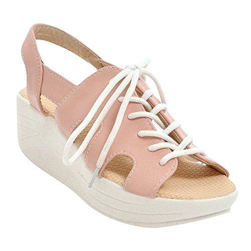 Mee Shoes Women's Comfortable Lace up Wedge Heel Sandals Pink