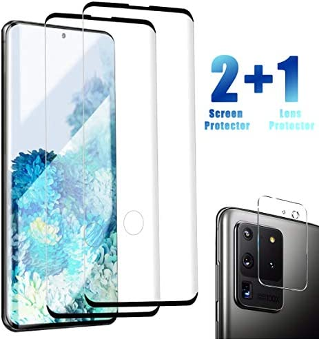 Galaxy S20 Ultra Screen Protector with Camera Lens Protector, [2 Pack] HD Tempered Glass Film Protector for Samsung Galaxy S20 Ultra/ S20 Ultra 5G [Support Fingerprint Unlock]