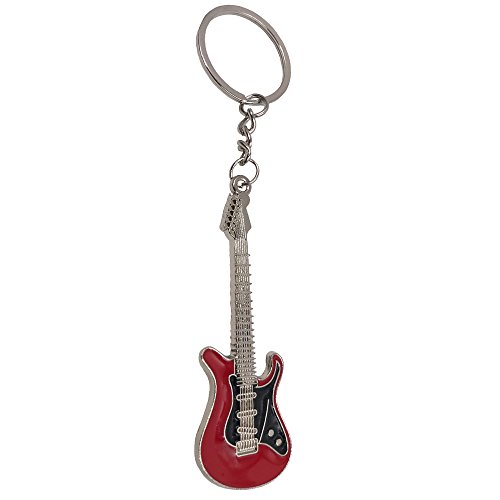 Wang Zhai Red Guitar Keychain For Men Mini cute Bass Key Chain Ring For Kids High-end Car Keyring electric guitar Key Holder Bass Key