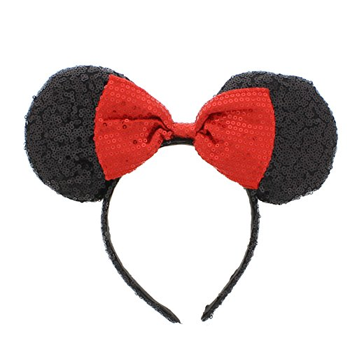 Zac's Alter Ego Mouse Ears Headband with Red Sequin (Glitzy Red Sequin)