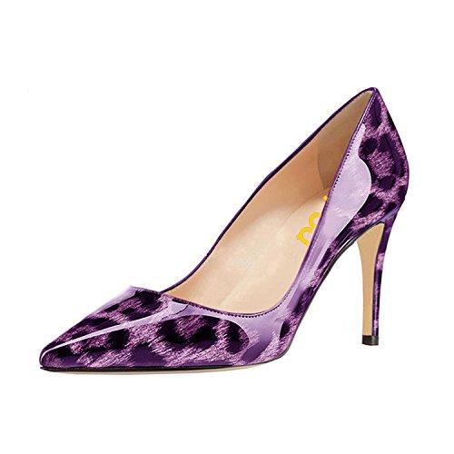 Fsj Donna Sexy Vestito Leopardo Stampato Scarpe A Punta Tacco Alto Tacchi A Spillo Pompe Taglia 4-15 Us Viola-8 Cm