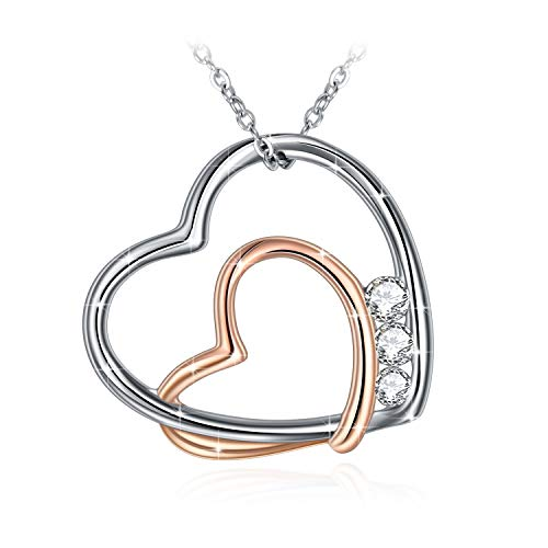 GUNDULA Christmas Jewelry Gifts Packing Sterling Silver Two-Tone Gold Plated Love Heart Pendant Necklaces