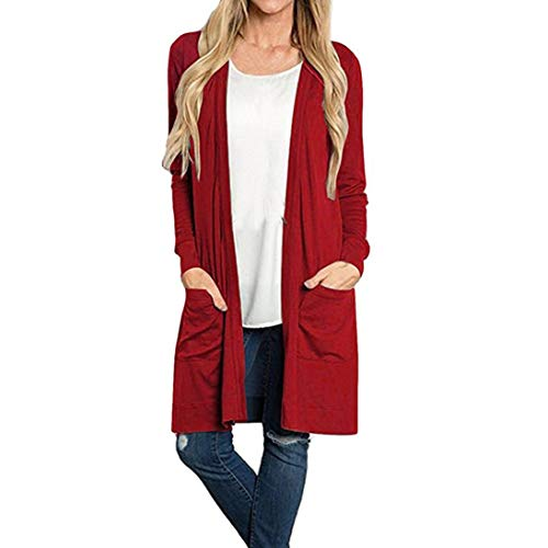 GOVOW Lightweight Kimono Cardigan for Women Clearance Sale Long Sleeve Open Front Loose Pocket Causal ()
