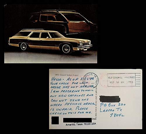 1973 PONTIAC GRAND SAFARI 2-Seat STATION WAGON FACTORY ORIGINAL COLOR POSTCARD - USA - NICE USED VINTAGE POST CARD !!