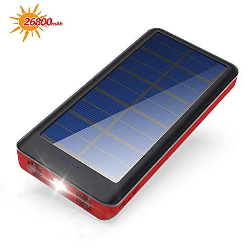 BONAI Power Bank Solar 26800mAh, Cargador Móvil Portáti Solar Power Bank Entrada 4.2A y Salida 5.8A Paquete de batería…
