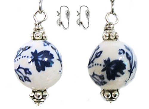 Dark Blue Flower 12mm Ceramic Bead Silver Colored Earring Set (3. CLIP ONS - 8mm Half (Ceramic Clip Earrings)