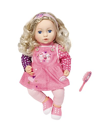 Zapf Creation - Baby Annabell - Sophia so Soft weiche Spielpuppe mit Stoffkörper, langen blonden Haaren, 1 Haarbürste, 1 Stirnband sowie 1 Kleid, 1 rosa Leggins und 1 Paar pinken Turnschuhen, geeignet ab 2 Jahren, rosa, 43 cm 1 Haarbürste geeignet ab 2 Jah