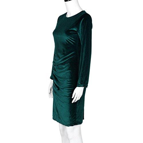 Creazy Di Partito A Sera Donne Abito Lunghe Maniche Mini Vestito Velluto Casuale Verde Del pwxtq1