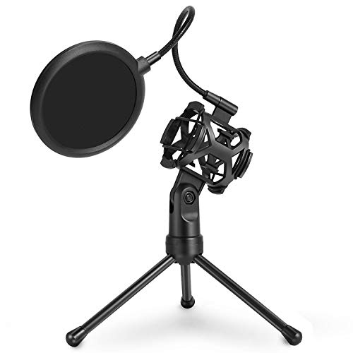 (Black Desktop Microphone Tripod Stand with Shock Mount Microphone Holder & Pop Filter Mask Shield, Adjustable Portable for Studio Vocal Recording Podcasts, Music Recording, Online Chat, Lectures)