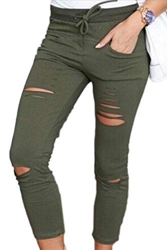 Femme Manche Armygreen De Pantalon Uni Casual Dame Étendue Trous Maigre Ete Elégante Serrage Cordon Crayon Battercake Tendance Pants Loisirs Unicolore Pantalons 5ZRwqwB