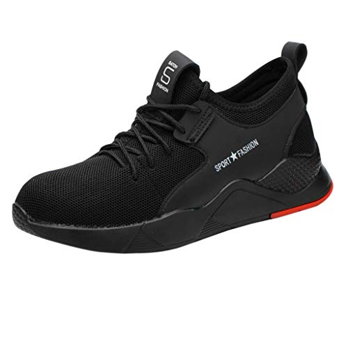 Unisex Mens Women Sneakers, Breathable Sports Shoes Athletic Hiking Walking Running Sneakers Safety Shoes 6-10.5 (Black, US:7.5)