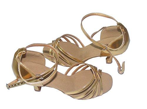 Colorfulworldstore Zapatos de baile latino con cinco correas de poliuretano en color dorado/ plateado Dorado