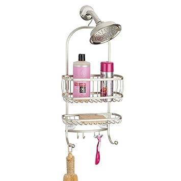 mDesign Organizador de ducha con baldas para baño y ganchos para colgar –  Cesta de ducha 345e9fc98656