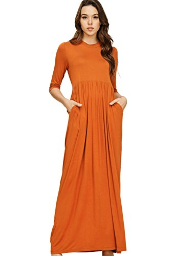 Annabelle Women's 3/4 Sleeve Round Neck Shirring Above Waist Long Maxi Dress with Side Pockets Burnt Orange Small D5185