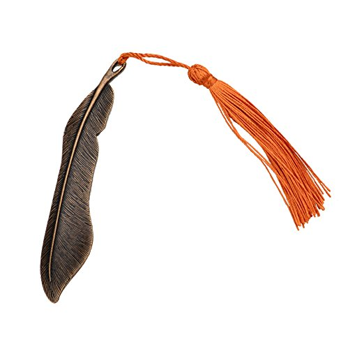 10Pcs Classical Delicacy Antique Copper Feather Shape Metal Beading Bookmark with Handmade Silky Tassels (Antique (Handmade Bookmark)