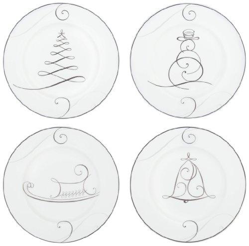 - Noritake Wave Holiday Appetizer Plates, Platinum, Set of 4