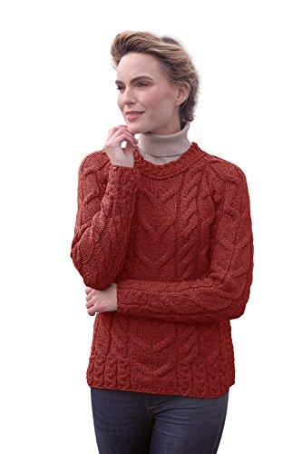 Carraig Donn Ladies Irish Multi Cabled Raglan Super Soft Merino Wool Sweater (XLarge, Jam Red) ()