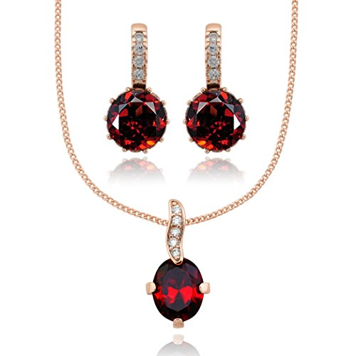 Olivia Star Jewelry Rose Gold Plated 14K Set Necklace Pendant Drop Dangle Earrings for Women Red CZ Cubic Zirconia by