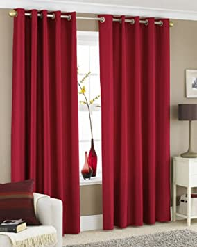 Red Curtains amazon red curtains : RED FAUX SILK LINED CURTAINS WITH EYELET RING TOP 90 x 90