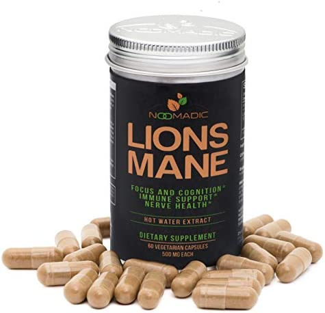 Lion s Mane Mushroom, 60 Capsules 500mg Each, Nerve Growth Factor NGF Nootropic Focus, Memory, Brain Enhancement , Hot Water Extract, Wood Grown, Fruiting Bodies, 30 Beta-D-Glucans