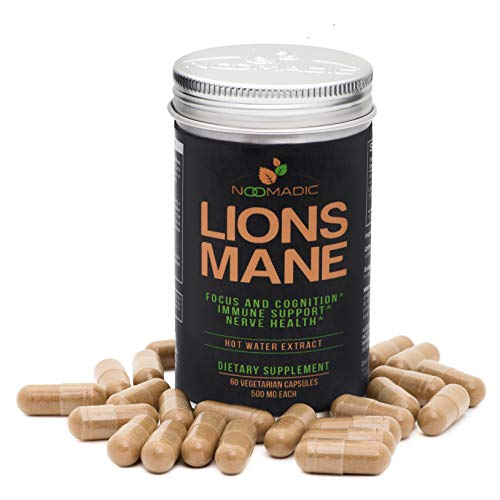 Lions Mane Mushroom, 60 Capsules | 500mg Each, Nerve Growth Factor (NGF) & Nootropic (Focus & Memory), Hot Water Extract, Fruiting Bodies, 30% Beta-D-Glucans