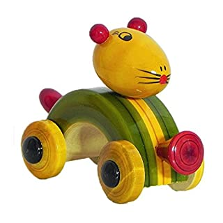 DollsofIndia Wooden Mouse Car - Chennapatna Toy - 3 x 5 x 2 inches (HQ99)