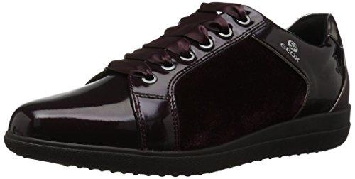 Geox Women's Nihal 7 Velvet & Patent Fashion Sneaker, Dark Burgundy 38 Medium EU (8 US)