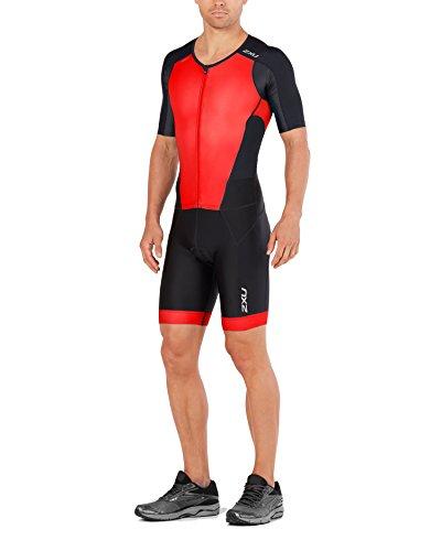 2XU Mens PerformFullZip Sleeved Trisuit, Black/Team Red, Large -