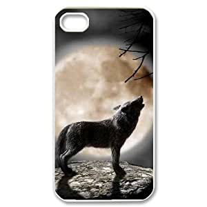 Lonely Wolf Custom Case for Iphone 4,4S, Personalized Lonely Wolf Case