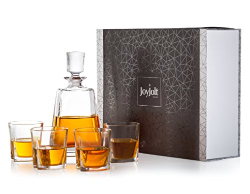 JoyJolt Luna 5 Piece Whiskey Decanter And Glass Set, 100% Lead-Free Crystal Bar Set Prefer For Scotch, Liquor, Bourbon Comes with A Whisky Decanter Sets And 4 Old Fashioned Glasses. -