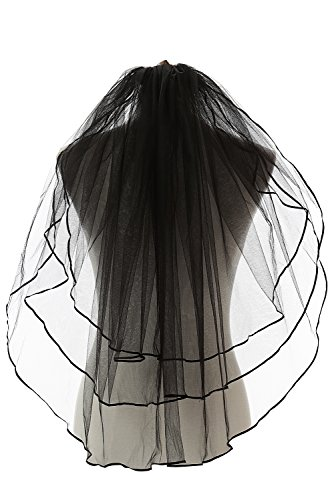 ElieHouse Women's 3 Tiers Ribbon Edge Finger Tip Wedding Bridal Veil Black E54BK ()