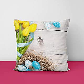 41z13ED8FpL. SS320 Easter Eggs Nest Wood Square Design Printed Cushion Cover