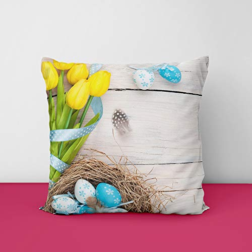 41z13ED8FpL Easter Eggs Nest Wood Square Design Printed Cushion Cover