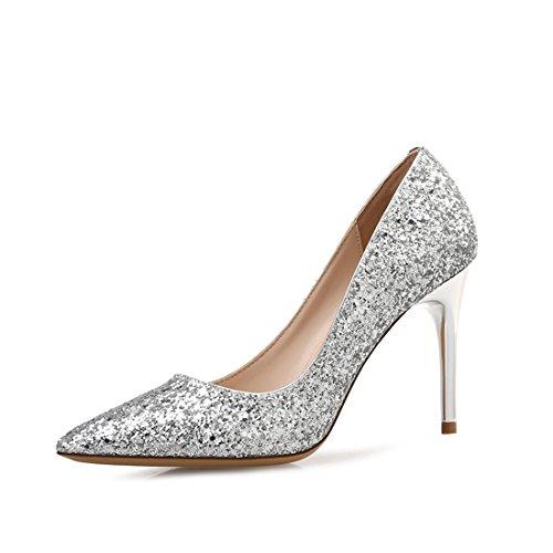 HBOS Damen Pumps Pailletten Spitz-Spitze Flach-Mund High Heels Frauen Feine Ferse Schuhe Gradienten Hochzeit Schuhe Silber 5cm