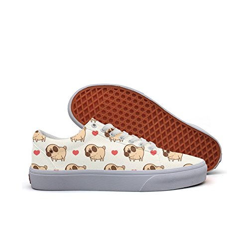 Happy Valentine's Dog Fashion Canvas Sneaker Shoes For Womns 3D Printed Low Top Skateboarding Shoes by Feenfling
