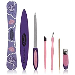 Ms. Manicure Pretty in Pink Manicure Set; Wood Cuticle Sticks, Cuticle Pusher, Cuticle Trimmer, Sapphire File, Nail Clipper, Salon Board, and 3-way buffer; Seven Tools For a Perfect Set of Nails
