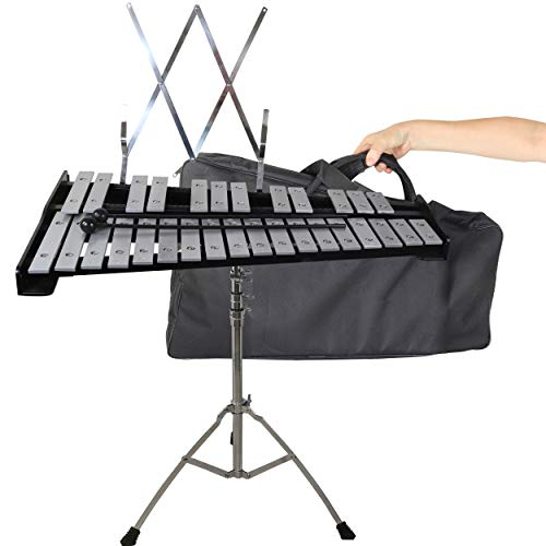 (30 note Professional Glockenspiel - Metal Bell Kit Xylophone with Stand, Note Holder and Carrying)